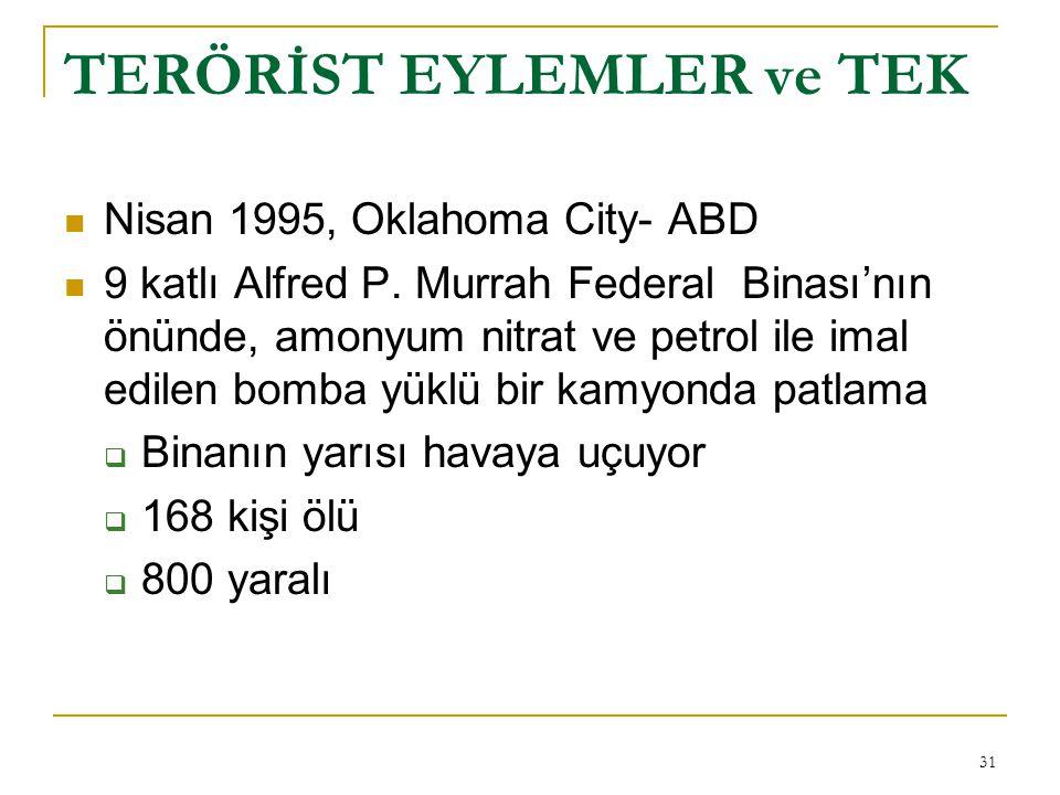 31 TERÖRİST EYLEMLER ve TEK  Nisan 1995, Oklahoma City- ABD  9 katlı Alfred P.
