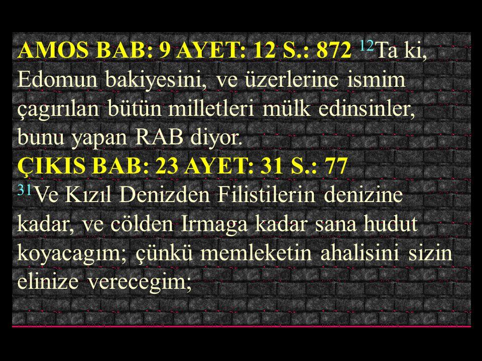 TEKVIN BAB: 16 AYET: 18 S.: 13 18 O günde RAB Abramla ahdedip dedi. Mısır ırmagından büyük ırmaga, Fırat ırmagına kadar, bu diyarı, 19 Kenileri, ve Ke