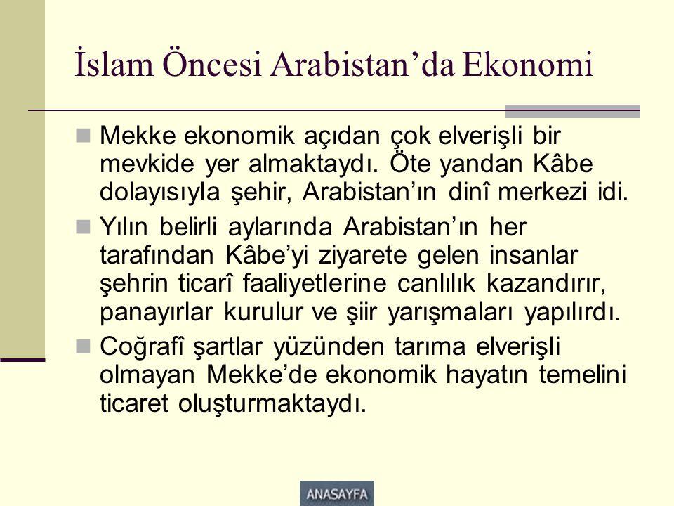 İslam Öncesi Arabistan'da Ekonomi  Mekke ekonomik açıdan çok elverişli bir mevkide yer almaktaydı. Öte yandan Kâbe dolayısıyla şehir, Arabistan'ın di