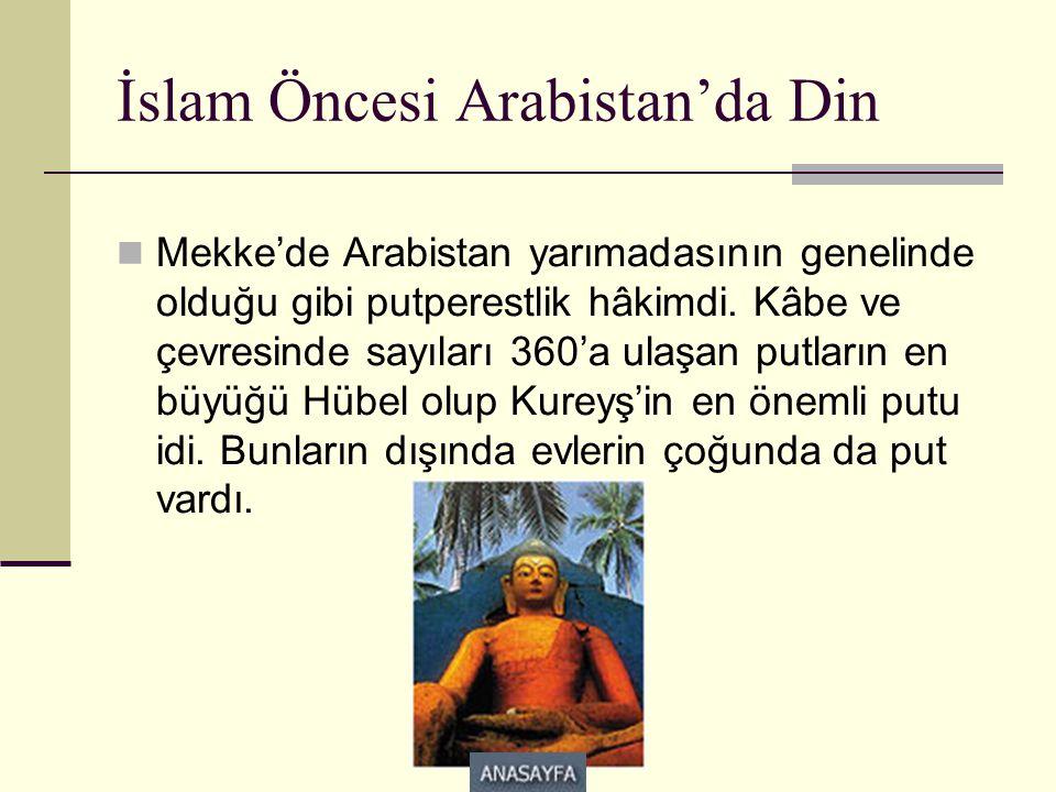 İslam Öncesi Arabistan'da Din  Mekke'de Arabistan yarımadasının genelinde olduğu gibi putperestlik hâkimdi. Kâbe ve çevresinde sayıları 360'a ulaşan