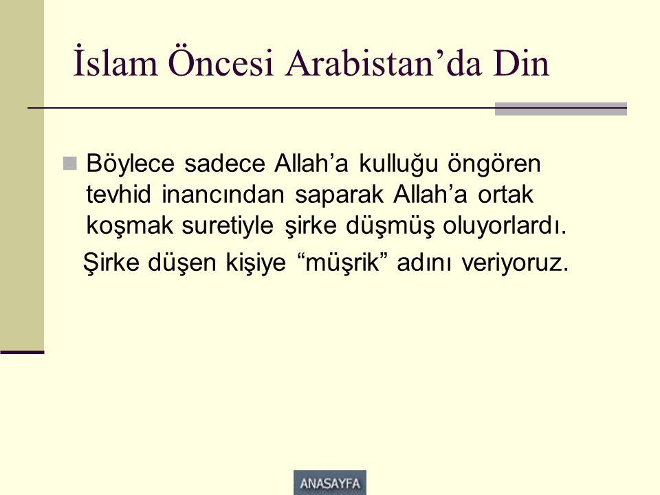 İslam Öncesi Arabistan'da Din  Böylece sadece Allah'a kulluğu öngören tevhid inancından saparak Allah'a ortak koşmak suretiyle şirke düşmüş oluyorlardı.