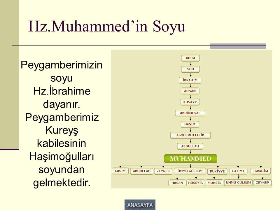 Hz.Muhammed'in Soyu Peygamberimizin soyu Hz.İbrahime dayanır. Peygamberimiz Kureyş kabilesinin Haşimoğulları soyundan gelmektedir.