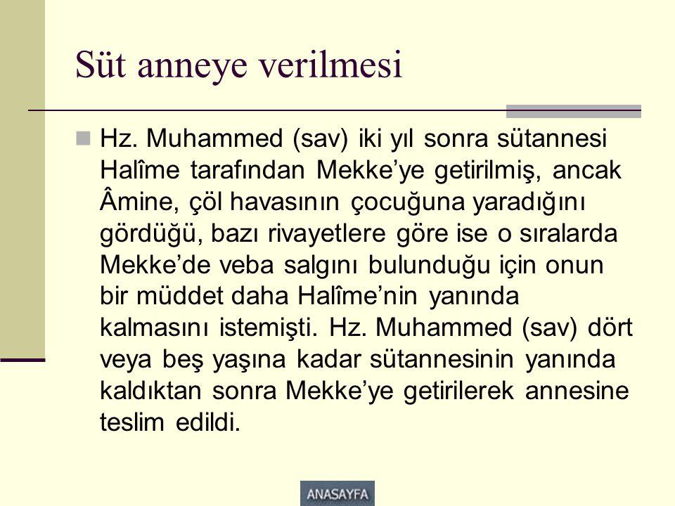 Süt anneye verilmesi  Hz. Muhammed (sav) iki yıl sonra sütannesi Halîme tarafından Mekke'ye getirilmiş, ancak Âmine, çöl havasının çocuğuna yaradığın
