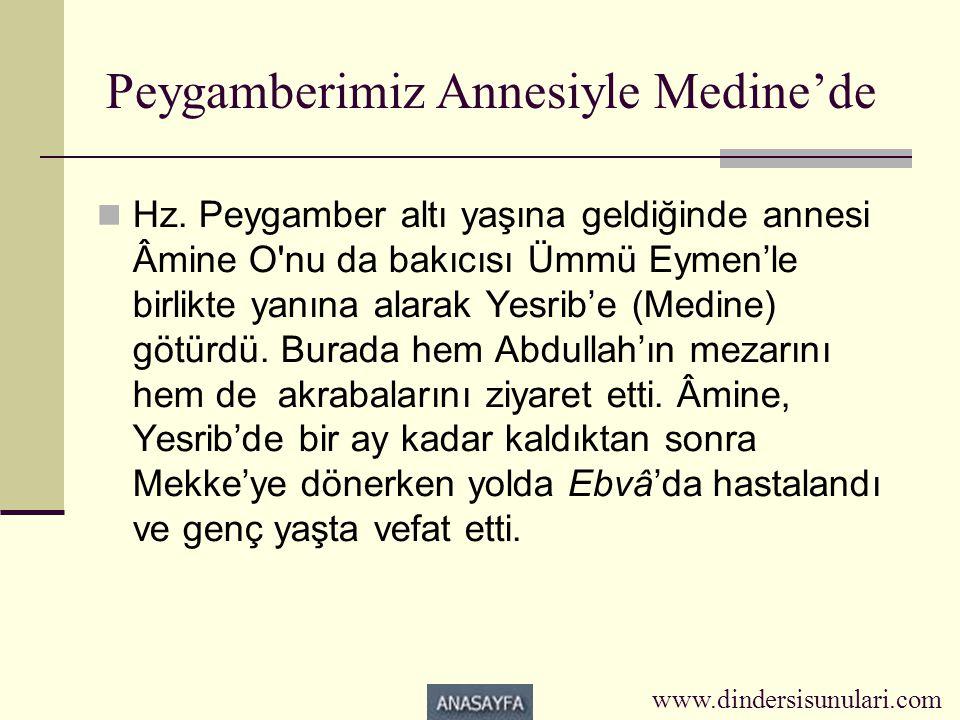 Peygamberimiz Annesiyle Medine'de  Hz. Peygamber altı yaşına geldiğinde annesi Âmine O'nu da bakıcısı Ümmü Eymen'le birlikte yanına alarak Yesrib'e (