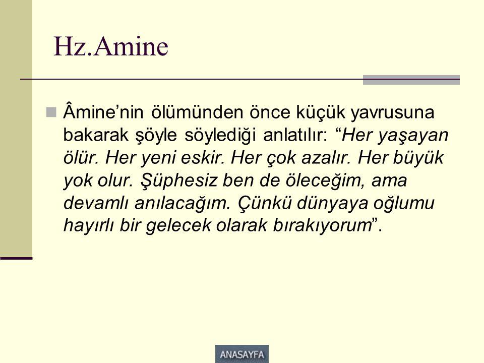 """Hz.Amine  Âmine'nin ölümünden önce küçük yavrusuna bakarak şöyle söylediği anlatılır: """"Her yaşayan ölür. Her yeni eskir. Her çok azalır. Her büyük yo"""