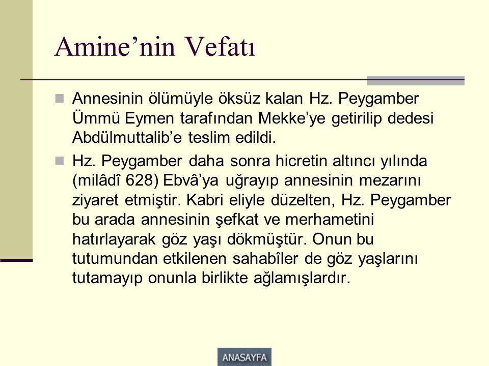 Amine'nin Vefatı  Annesinin ölümüyle öksüz kalan Hz. Peygamber Ümmü Eymen tarafından Mekke'ye getirilip dedesi Abdülmuttalib'e teslim edildi.  Hz. P