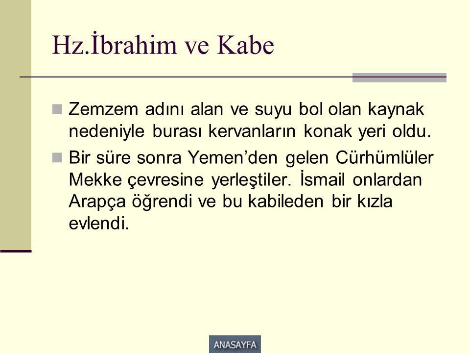 Hz.İbrahim ve Kabe  Zemzem adını alan ve suyu bol olan kaynak nedeniyle burası kervanların konak yeri oldu.  Bir süre sonra Yemen'den gelen Cürhümlü