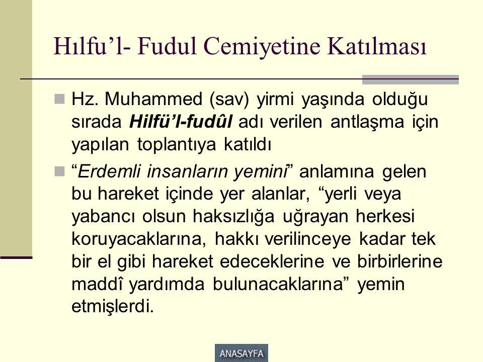Hılfu'l- Fudul Cemiyetine Katılması  Hz. Muhammed (sav) yirmi yaşında olduğu sırada Hilfü'l-fudûl adı verilen antlaşma için yapılan toplantıya katıld