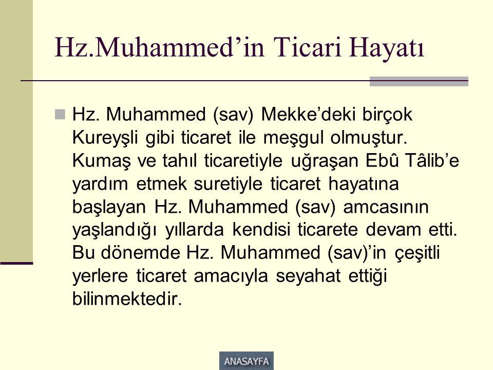 Hz.Muhammed'in Ticari Hayatı  Hz. Muhammed (sav) Mekke'deki birçok Kureyşli gibi ticaret ile meşgul olmuştur. Kumaş ve tahıl ticaretiyle uğraşan Ebû