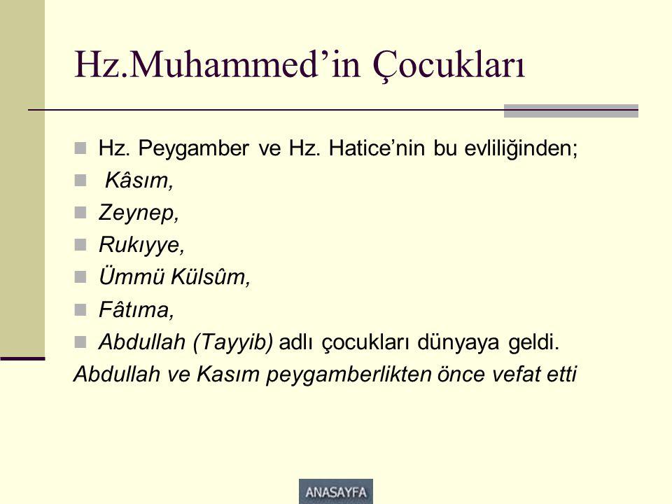 Hz.Muhammed'in Çocukları  Hz. Peygamber ve Hz. Hatice'nin bu evliliğinden;  Kâsım,  Zeynep,  Rukıyye,  Ümmü Külsûm,  Fâtıma,  Abdullah (Tayyib)