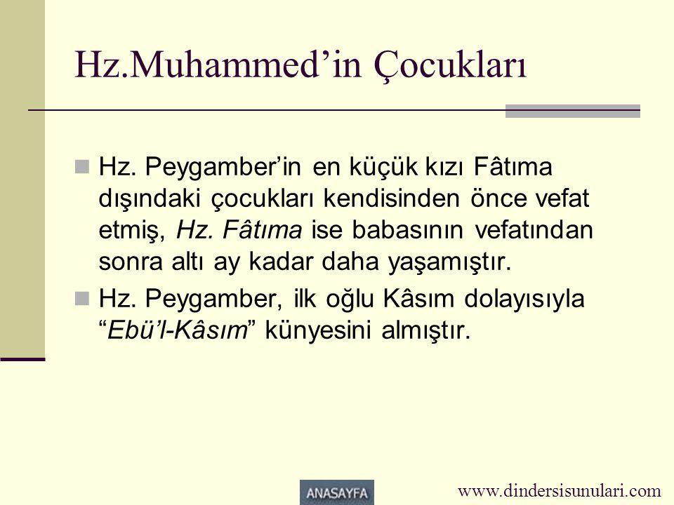 Hz.Muhammed'in Çocukları  Hz. Peygamber'in en küçük kızı Fâtıma dışındaki çocukları kendisinden önce vefat etmiş, Hz. Fâtıma ise babasının vefatından