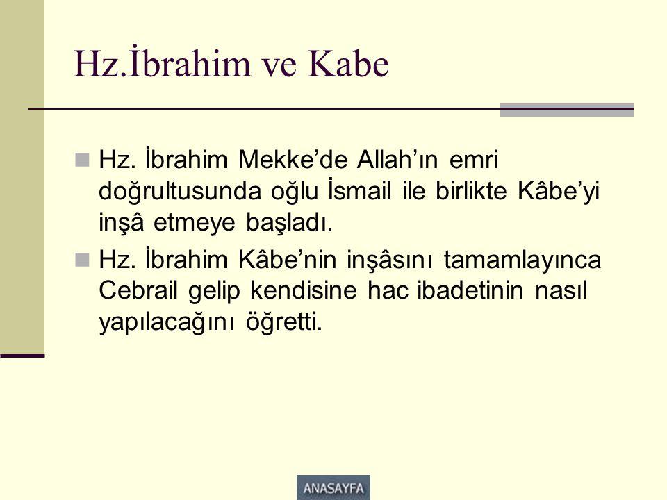 Hz.İbrahim ve Kabe  Hz. İbrahim Mekke'de Allah'ın emri doğrultusunda oğlu İsmail ile birlikte Kâbe'yi inşâ etmeye başladı.  Hz. İbrahim Kâbe'nin inş