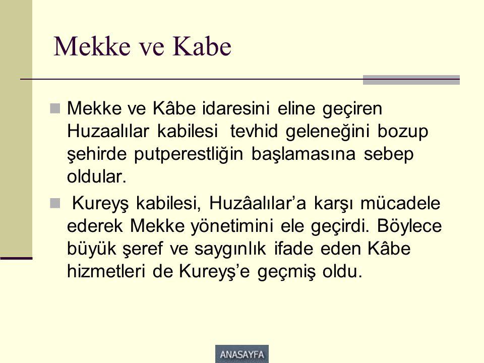 Mekke ve Kabe  Mekke ve Kâbe idaresini eline geçiren Huzaalılar kabilesi tevhid geleneğini bozup şehirde putperestliğin başlamasına sebep oldular. 