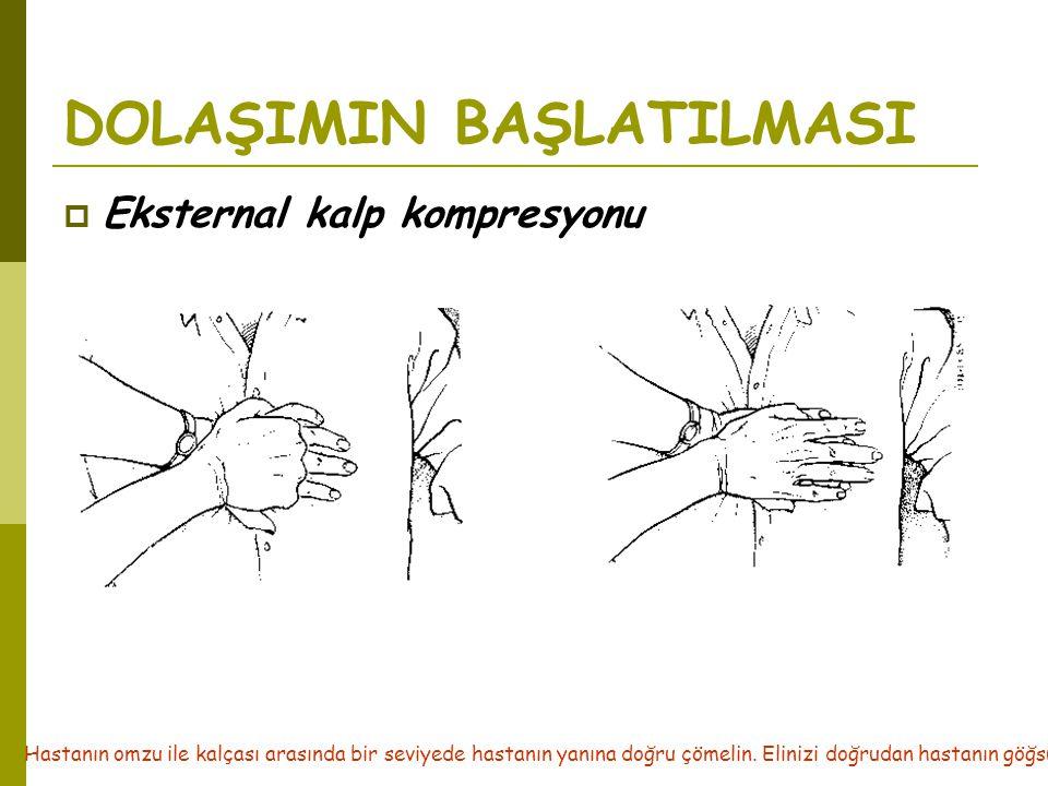 DOLAŞIMIN BAŞLATILMASI  Eksternal kalp kompresyonu Hastanın omzu ile kalçası arasında bir seviyede hastanın yanına doğru çömelin. Elinizi doğrudan ha