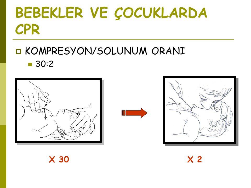 BEBEKLER VE ÇOCUKLARDA CPR  KOMPRESYON/SOLUNUM ORANI  30:2 X 30X 2