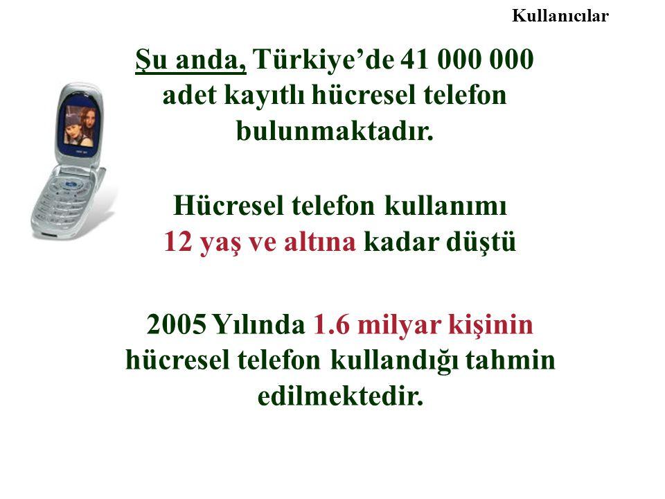 Hücresel telefon kullanımı 12 yaş ve altına kadar düştü 2005 Yılında 1.6 milyar kişinin hücresel telefon kullandığı tahmin edilmektedir. Şu anda, Türk