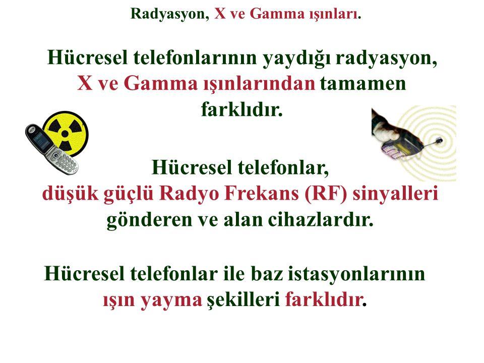 Radyasyon, X ve Gamma ışınları. Hücresel telefonlar, düşük güçlü Radyo Frekans (RF) sinyalleri gönderen ve alan cihazlardır. Hücresel telefonlar ile b