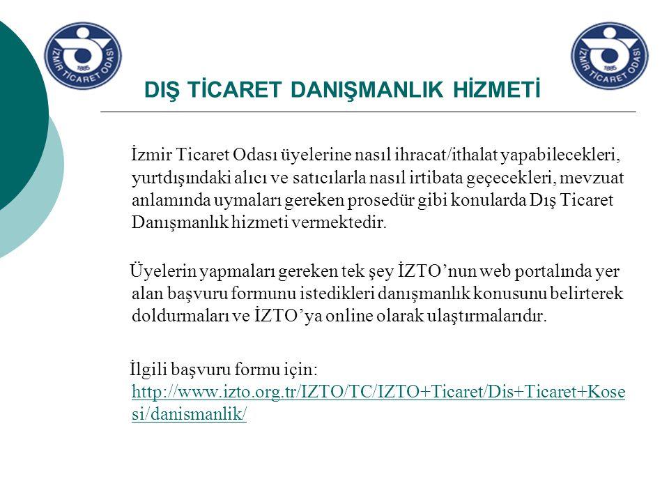 DIŞ TİCARET DANIŞMANLIK HİZMETİ İzmir Ticaret Odası üyelerine nasıl ihracat/ithalat yapabilecekleri, yurtdışındaki alıcı ve satıcılarla nasıl irtibata geçecekleri, mevzuat anlamında uymaları gereken prosedür gibi konularda Dış Ticaret Danışmanlık hizmeti vermektedir.