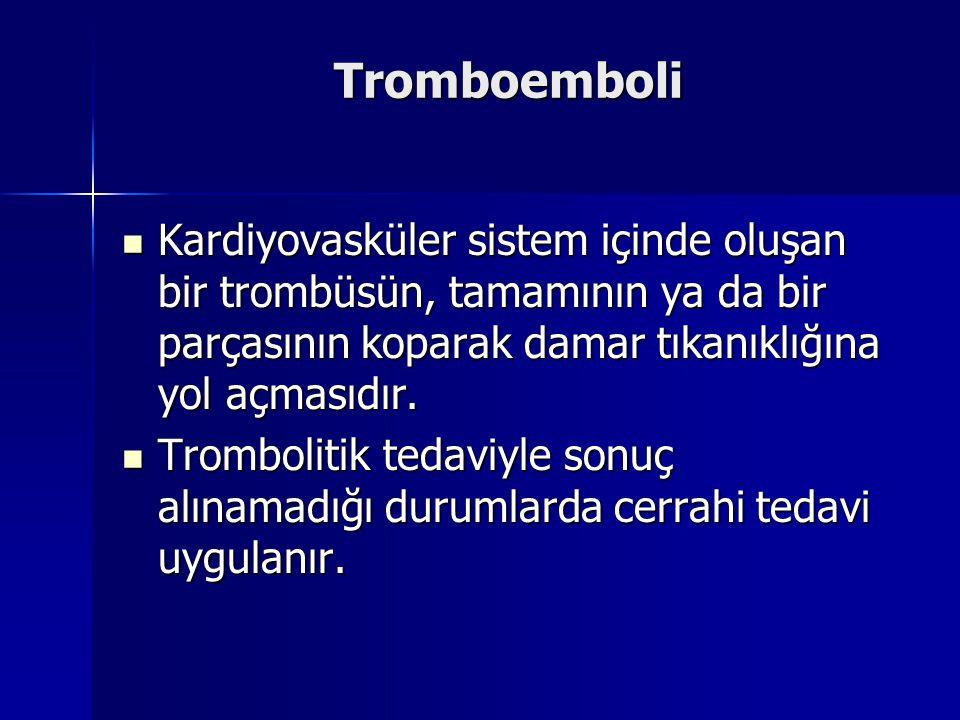 Tromboemboli  Kardiyovasküler sistem içinde oluşan bir trombüsün, tamamının ya da bir parçasının koparak damar tıkanıklığına yol açmasıdır.  Trombol