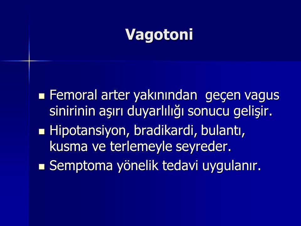 Vagotoni  Femoral arter yakınından geçen vagus sinirinin aşırı duyarlılığı sonucu gelişir.  Hipotansiyon, bradikardi, bulantı, kusma ve terlemeyle s