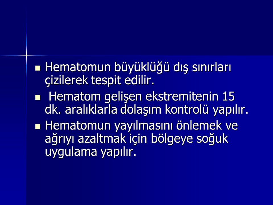  Hematomun büyüklüğü dış sınırları çizilerek tespit edilir.  Hematom gelişen ekstremitenin 15 dk. aralıklarla dolaşım kontrolü yapılır.  Hematomun