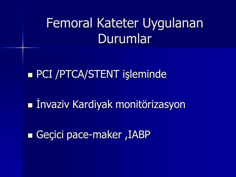 Yapılan bir araştırmada ; Diagnostik amaçlı yapılan femoral girişim sonrası ;ciddi lokal vasküler komplikasyonun insidansı %0,1-2, Yapılan bir araştırmada ; Diagnostik amaçlı yapılan femoral girişim sonrası ;ciddi lokal vasküler komplikasyonun insidansı %0,1-2, PTCA sonrası %0,5-5,kompleks girişim sonrasında ve antikuagülan uygulanan hastalarda %14, transbrachial ve transradiyalde %1-5, olduğu kaydedilerek PCI/PTCA sonrası daha küçük katater ve dikkatli antikuagülan kullanımının komplikasyon insidansını düşüreceği eklenmiştir.