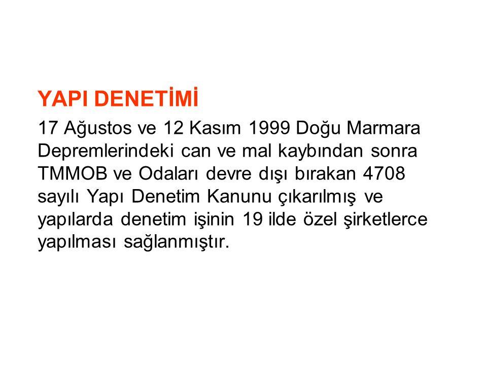 YAPI DENETİMİ 17 Ağustos ve 12 Kasım 1999 Doğu Marmara Depremlerindeki can ve mal kaybından sonra TMMOB ve Odaları devre dışı bırakan 4708 sayılı Yapı