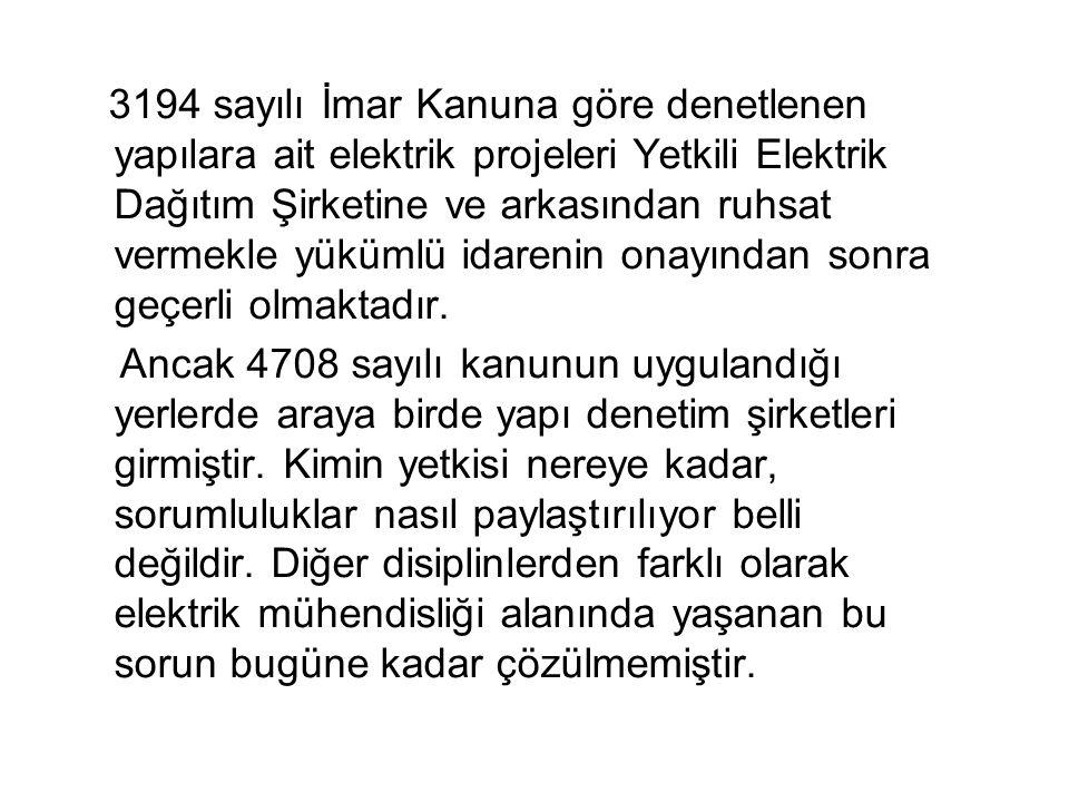 3194 sayılı İmar Kanuna göre denetlenen yapılara ait elektrik projeleri Yetkili Elektrik Dağıtım Şirketine ve arkasından ruhsat vermekle yükümlü idare