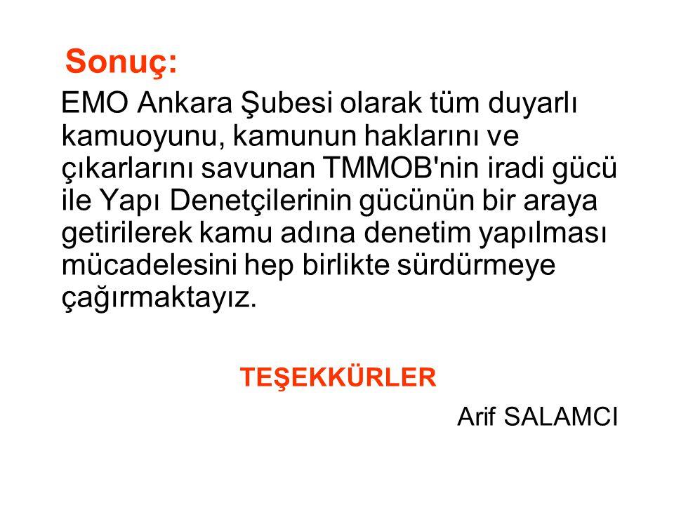 Sonuç: EMO Ankara Şubesi olarak tüm duyarlı kamuoyunu, kamunun haklarını ve çıkarlarını savunan TMMOB'nin iradi gücü ile Yapı Denetçilerinin gücünün b