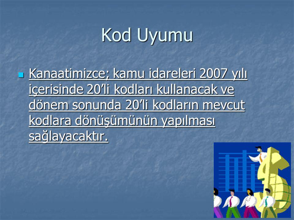 Kod Uyumu  Kanaatimizce; kamu idareleri 2007 yılı içerisinde 20'li kodları kullanacak ve dönem sonunda 20'li kodların mevcut kodlara dönüşümünün yapılması sağlayacaktır.