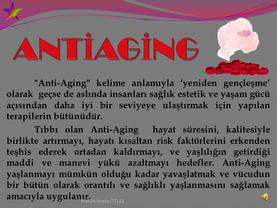 Anti-Aging kelime anlamıyla 'yeniden gençleşme' olarak geçse de aslında insanları sağlık estetik ve yaşam gücü açısından daha iyi bir seviyeye ulaştırmak için yapılan terapilerin bütünüdür.
