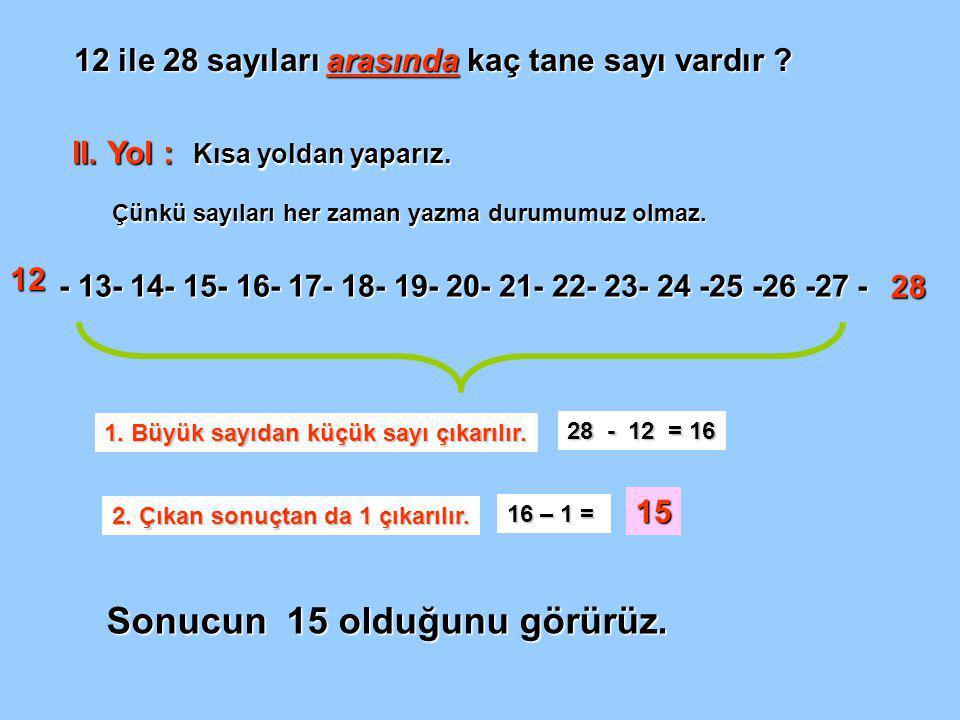 12 ile 28 sayıları arasında kaç tane sayı vardır .