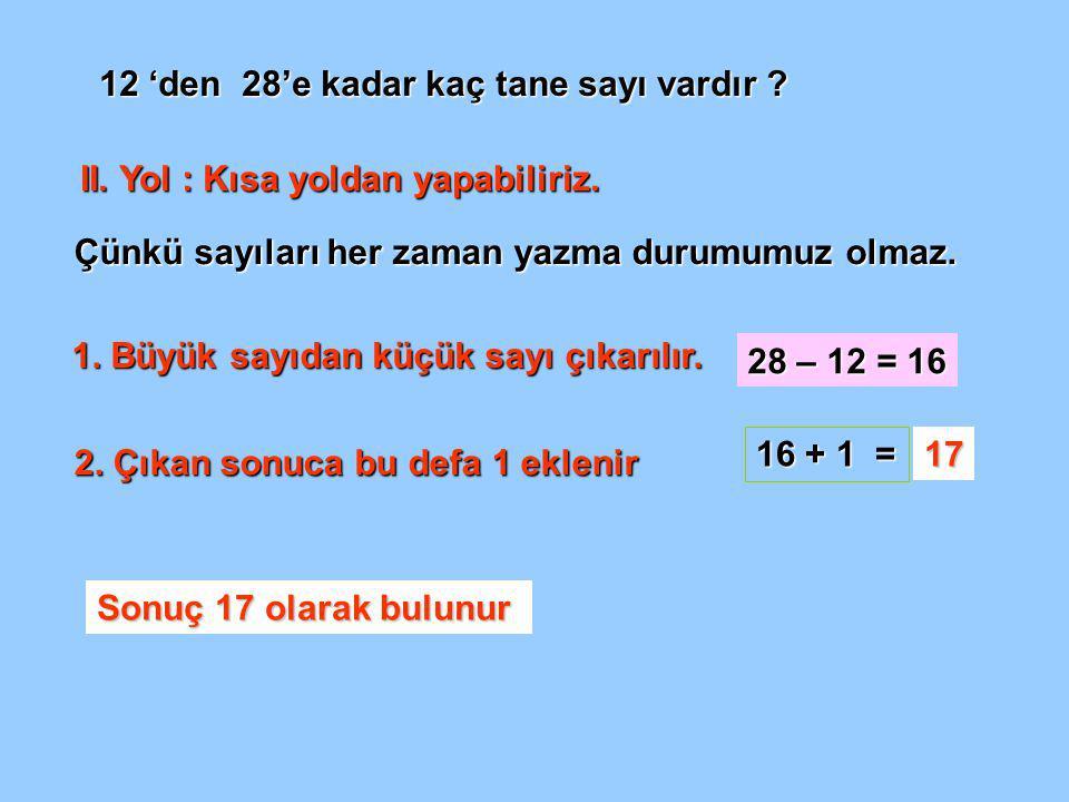 12 'den 28'e kadar kaç tane sayı vardır .II. Yol : Kısa yoldan yapabiliriz.