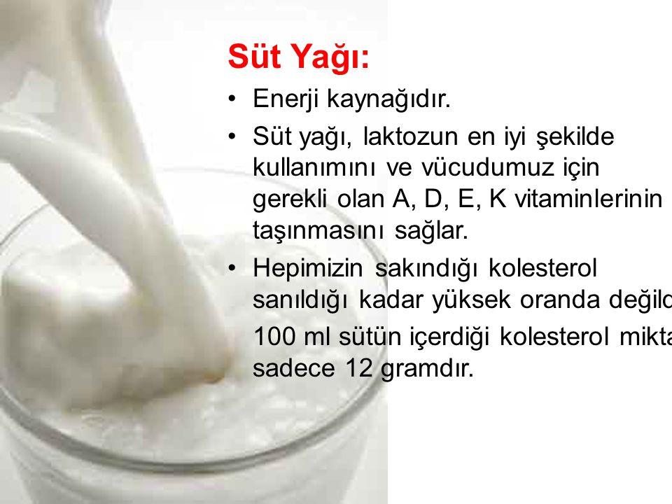 Süt Yağı: •Enerji kaynağıdır.