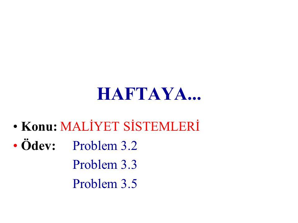 HAFTAYA... • Konu: MALİYET SİSTEMLERİ • Ödev: Problem 3.2 Problem 3.3 Problem 3.5