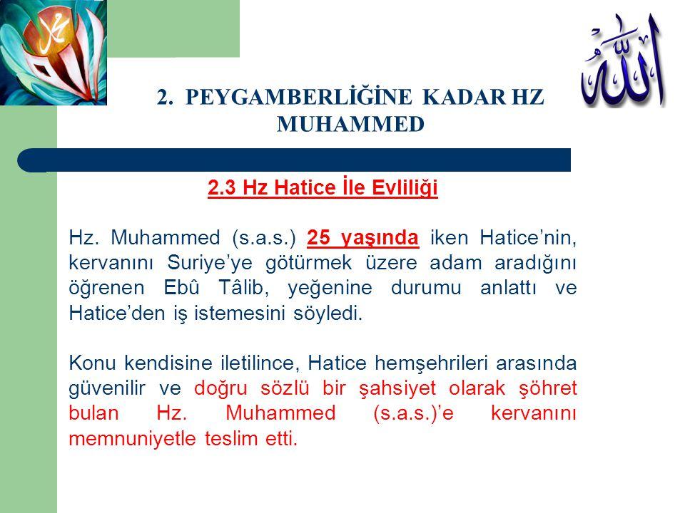 2.3 Hz Hatice İle Evliliği Hz. Muhammed (s.a.s.) 25 yaşında iken Hatice'nin, kervanını Suriye'ye götürmek üzere adam aradığını öğrenen Ebû Tâlib, yeğe