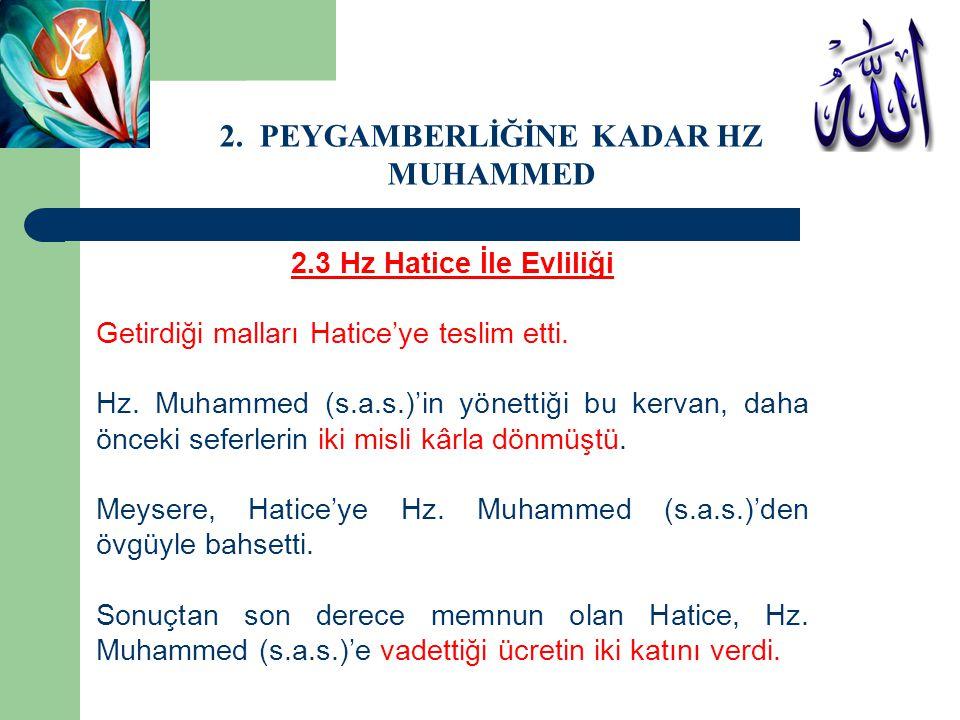 2.3 Hz Hatice İle Evliliği Getirdiği malları Hatice'ye teslim etti. Hz. Muhammed (s.a.s.)'in yönettiği bu kervan, daha önceki seferlerin iki misli kâr