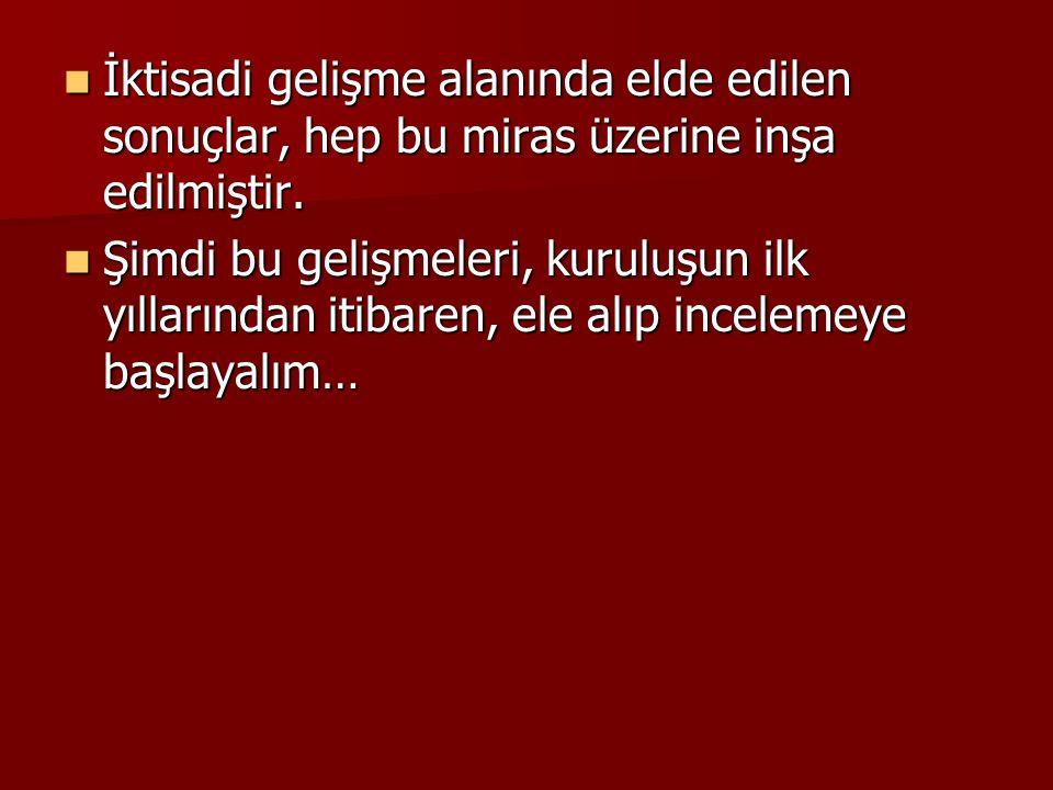 Temel Ekonomik Hedefler ve Tercihler  Türkiye Cumhuriyeti'nin kurucusu M.K.Atatürk ve O'nun silah arkadaşları, Anadolu'nun gerçek kurtuluşunun iktisadi zaferler kazanılması ile mümkün olacağını biliyordu.