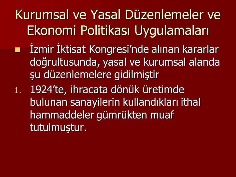Kurumsal ve Yasal Düzenlemeler ve Ekonomi Politikası Uygulamaları  İzmir İktisat Kongresi'nde alınan kararlar doğrultusunda, yasal ve kurumsal alanda şu düzenlemelere gidilmiştir 1.