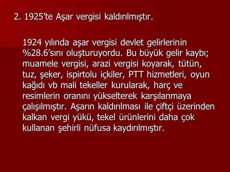 2.1925'te Aşar vergisi kaldırılmıştır.