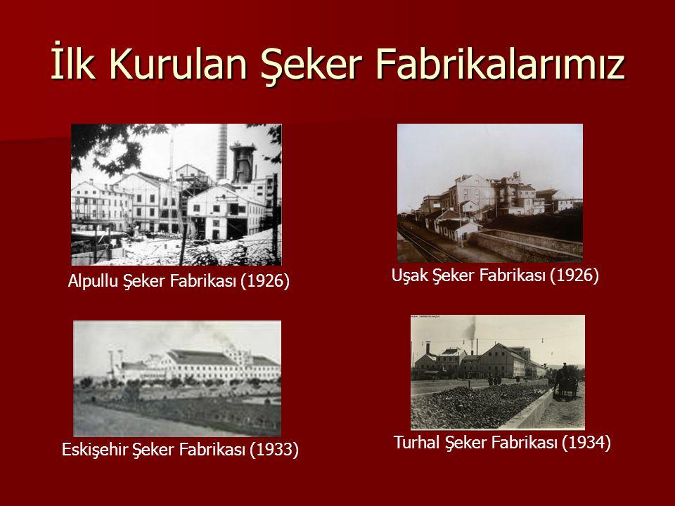 İlk Kurulan Şeker Fabrikalarımız Alpullu Şeker Fabrikası (1926) Uşak Şeker Fabrikası (1926) Eskişehir Şeker Fabrikası (1933) Turhal Şeker Fabrikası (1934)