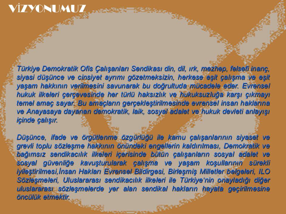 Türkiye Demokratik Ofis Çalışanları Sendikası din, dil, ırk, mezhep, felsefi inanç, siyasi düşünce ve cinsiyet ayrımı gözetmeksizin, herkese eşit çalı
