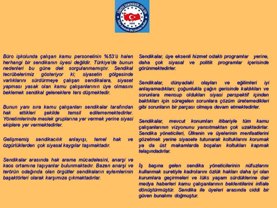 Büro işkolunda çalışan kamu personelinin %53'ü halen herhangi bir sendikanın üyesi değildir. Türkiye'de bunun nedenleri bu güne dek sorgulanmamıştır.