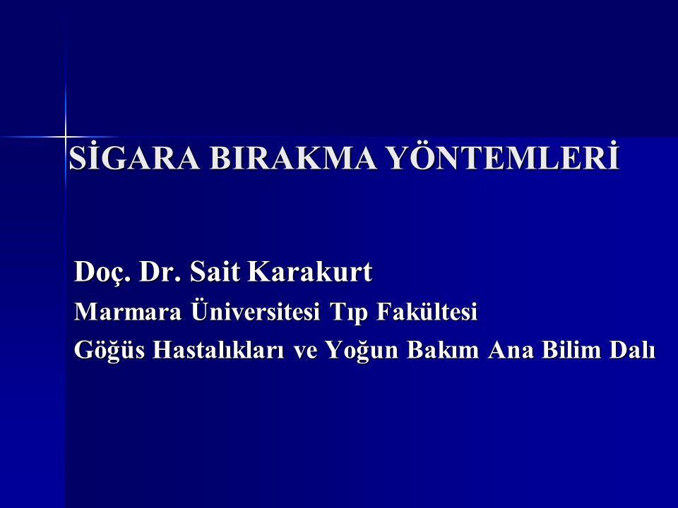 SİGARA BIRAKMA YÖNTEMLERİ Doç. Dr. Sait Karakurt Marmara Üniversitesi Tıp Fakültesi Göğüs Hastalıkları ve Yoğun Bakım Ana Bilim Dalı