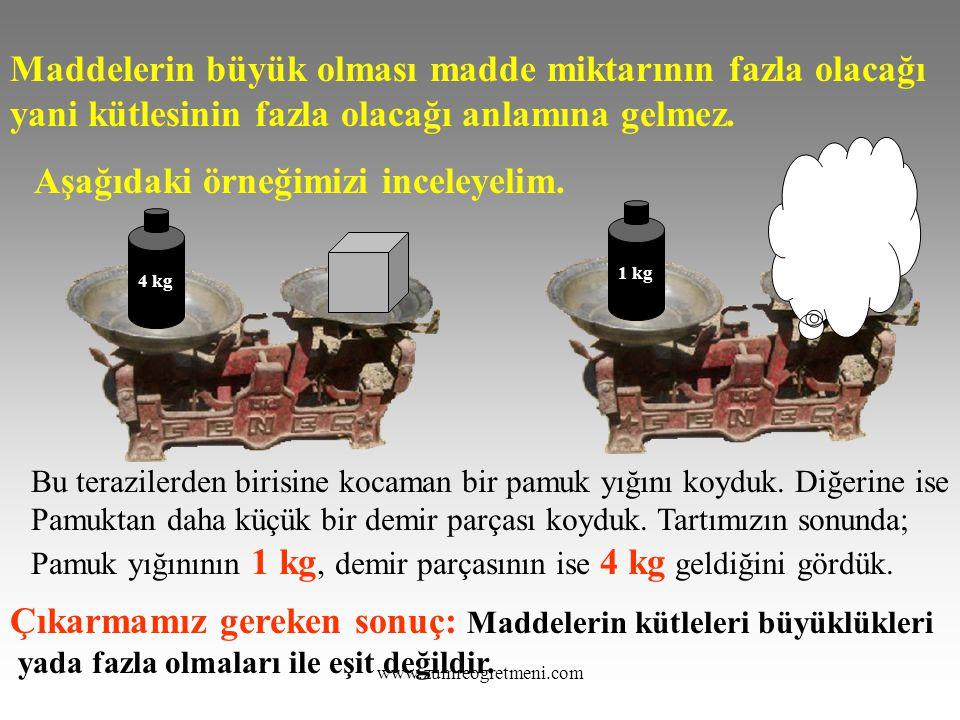 www.zumreogretmeni.com Maddelerin büyük olması madde miktarının fazla olacağı yani kütlesinin fazla olacağı anlamına gelmez. Aşağıdaki örneğimizi ince