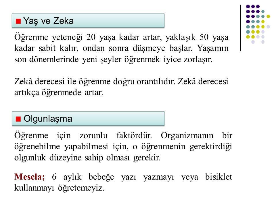 Yaş ve Zeka Öğrenme yeteneği 20 yaşa kadar artar, yaklaşık 50 yaşa kadar sabit kalır, ondan sonra düşmeye başlar.