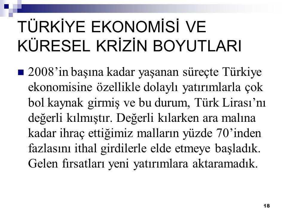 18 TÜRKİYE EKONOMİSİ VE KÜRESEL KRİZİN BOYUTLARI  2008'in başına kadar yaşanan süreçte Türkiye ekonomisine özellikle dolaylı yatırımlarla çok bol kay