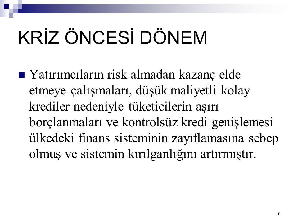 18 TÜRKİYE EKONOMİSİ VE KÜRESEL KRİZİN BOYUTLARI  2008'in başına kadar yaşanan süreçte Türkiye ekonomisine özellikle dolaylı yatırımlarla çok bol kaynak girmiş ve bu durum, Türk Lirası'nı değerli kılmıştır.
