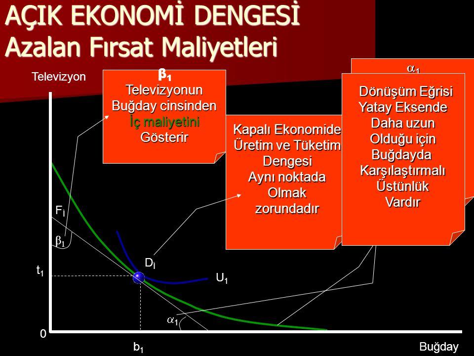 DİDİ Kapalı Ekonomide Üretim ve Tüketim Dengesi Aynı noktada Olmakzorundadır 11 β1β1 AÇIK EKONOMİ DENGESİ Azalan Fırsat Maliyetleri U1U1 Televizyon Buğday FİFİ b1b1 t1t1  β 1Televizyonun Buğday cinsinden İç maliyetini Gösterir  1   1Buğdayın TV cinsinden İç maliyetini Gösterir.