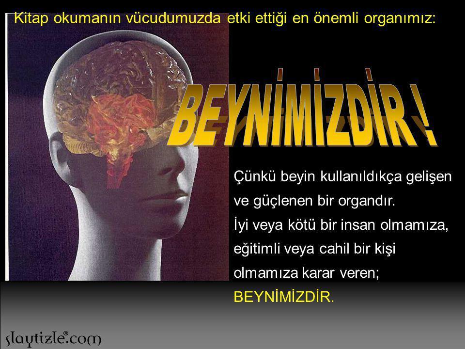 Kitap okumanın vücudumuzda etki ettiği en önemli organımız: Çünkü beyin kullanıldıkça gelişen ve güçlenen bir organdır.